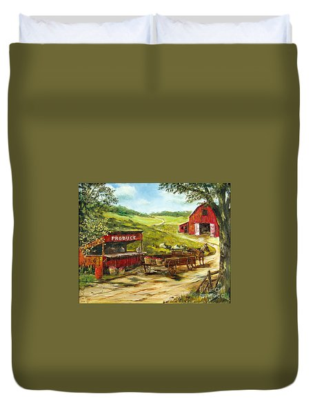 Duvet Cover featuring the painting Produce Stand by Lee Piper