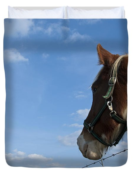 Duvet Cover featuring the photograph Profile Of A Horse by Charles Beeler