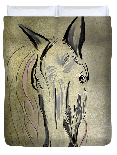Profile Of A White Horse Duvet Cover by Angela A Stanton
