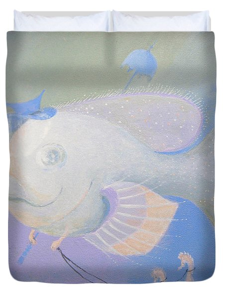 Duvet Cover featuring the painting Promenade by Marina Gnetetsky
