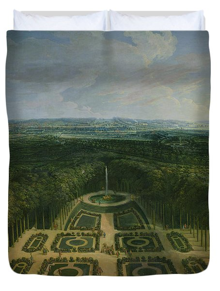 Promenade Of Louis Xiv 1638-1715 In The Gardens Of The Grand Trianon, 1713 Oil On Canvas Duvet Cover