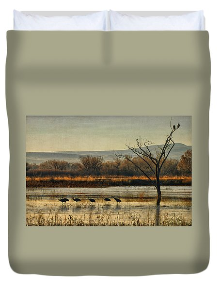 Promenade Of The Cranes Duvet Cover by Priscilla Burgers