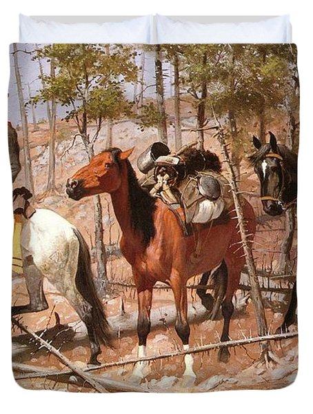 Prospecting For Cattle Range Duvet Cover by Frederic Remington