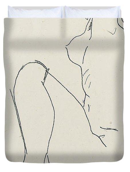 Prostrate Female Nude Duvet Cover