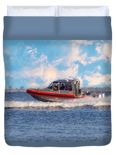 Protecting Our Waters - Coast Guard Duvet Cover