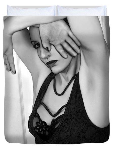 Protection - Self Portrait Duvet Cover by Jaeda DeWalt