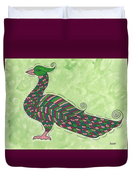 Duvet Cover featuring the painting Proud As A Peacock by Susie Weber
