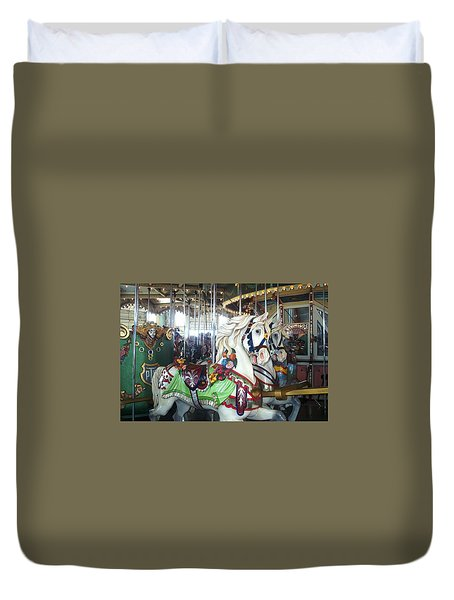 Duvet Cover featuring the photograph Proud Prancing Ponies by Barbara McDevitt