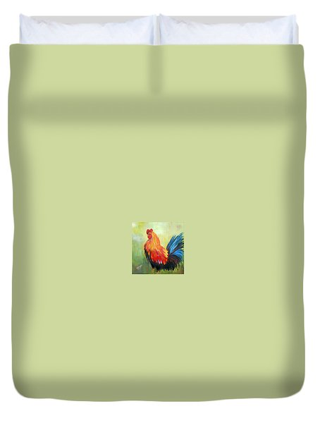 Duvet Cover featuring the painting Proud Rooster by Dorothy Maier