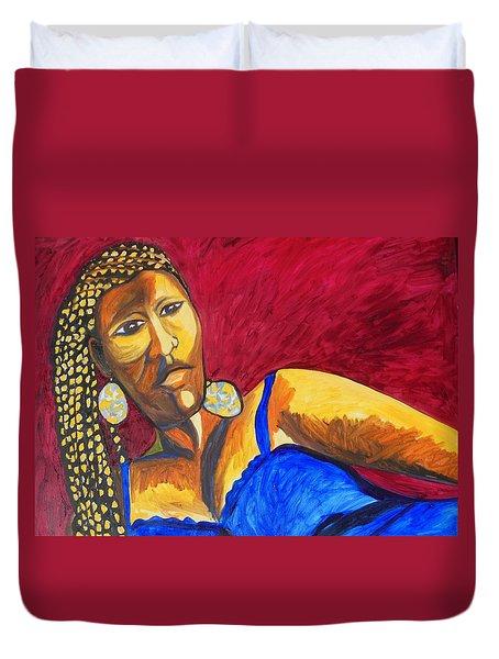 Duvet Cover featuring the painting Proud Sheruba Ethiopian Braids by Esther Newman-Cohen