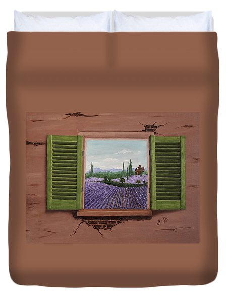 Duvet Cover featuring the painting Provence Lavander Fields Original Acrylic by Georgeta Blanaru