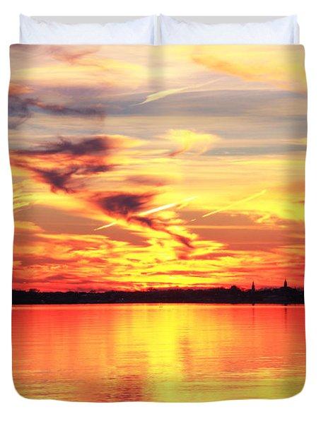 Provincetown Harbor Sunset Duvet Cover by Roupen  Baker