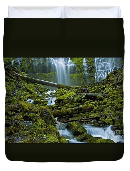 Duvet Cover featuring the photograph Proxy Falls by Nick  Boren