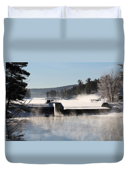 Winter  Pine River Pond  Duvet Cover
