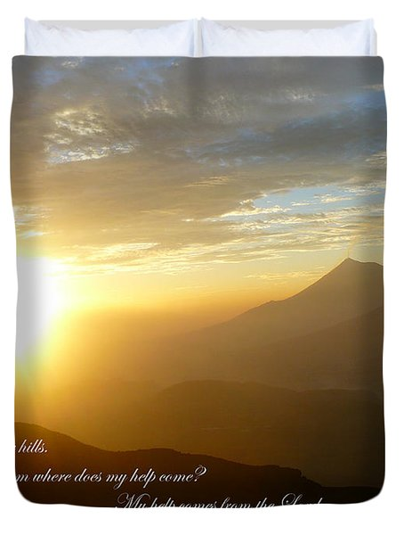 Psalm 121 1 2 C Duvet Cover by Nicki Bennett