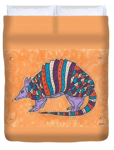 Duvet Cover featuring the painting Psychedelic Armadillo by Susie Weber