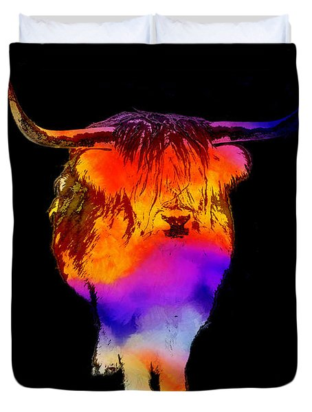 Psychedelic Bovine Duvet Cover by Pixel Chimp