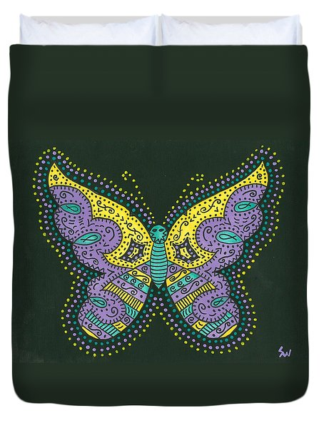 Duvet Cover featuring the painting Psychedelic Butterfly by Susie Weber