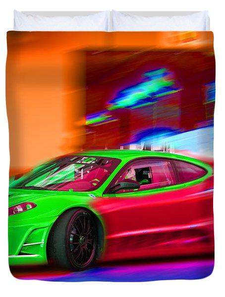 Duvet Cover featuring the photograph Psychedelic Ferrari by Gunter Nezhoda