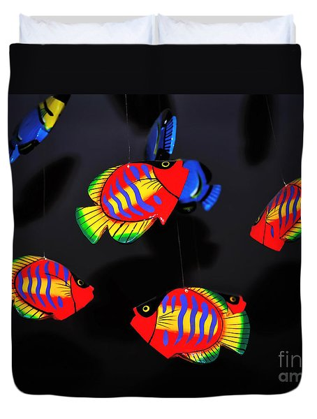 Psychedelic Flying Fish Duvet Cover by Kaye Menner