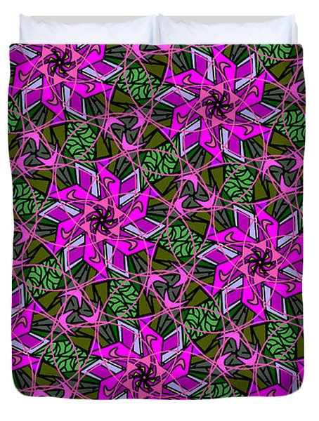 Duvet Cover featuring the digital art Psychedelic Pink by Elizabeth McTaggart
