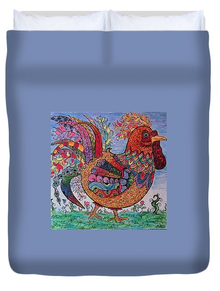 Psychedelic Rooster Duvet Cover by Megan Walsh