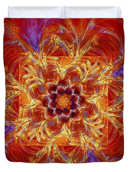 Psychedelic Spiral Vortex Red Orange And Blue Fractal Flame Duvet Cover by Keith Webber Jr