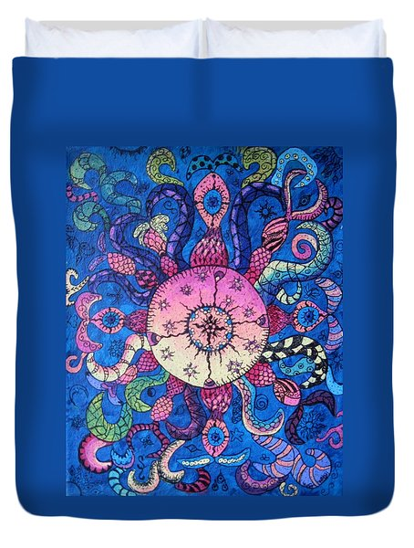 Psychedelic Squid Duvet Cover by Megan Walsh