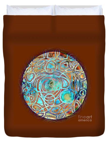 Duvet Cover featuring the digital art Psychodelic Plate by Gabrielle Schertz
