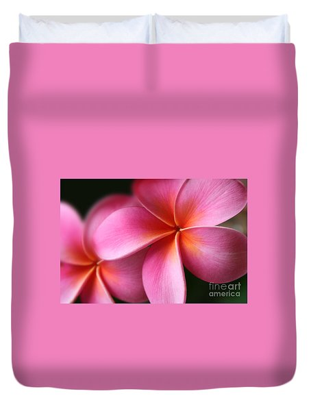 Duvet Cover featuring the photograph Pua Lei Aloha Cherished Blossom Pink Tropical Plumeria Hina Ma Lai Lena O Hawaii by Sharon Mau