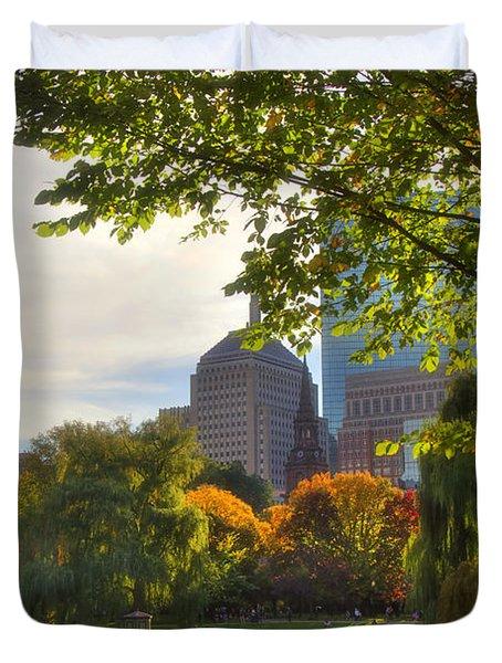 Public Garden Skyline Duvet Cover by Joann Vitali