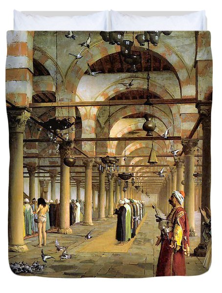 Public Prayer In The Mosque  Duvet Cover by Jean Leon Gerome