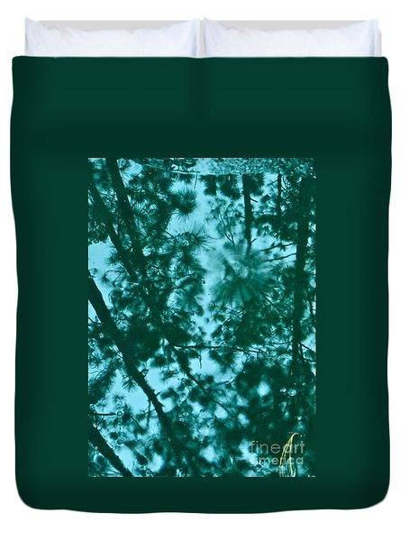 Duvet Cover featuring the photograph Puddle Of Pines by Joy Hardee