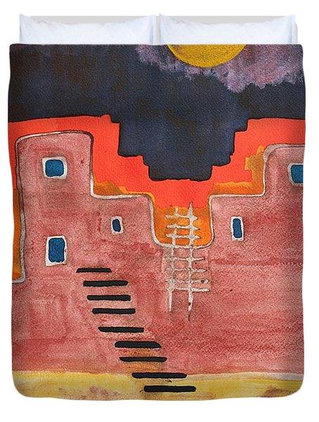 Pueblito Original Painting Duvet Cover