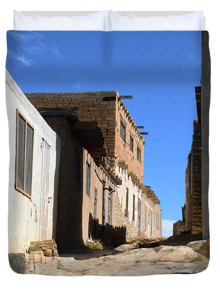 Duvet Cover featuring the photograph Pueblo Pathway by Debby Pueschel