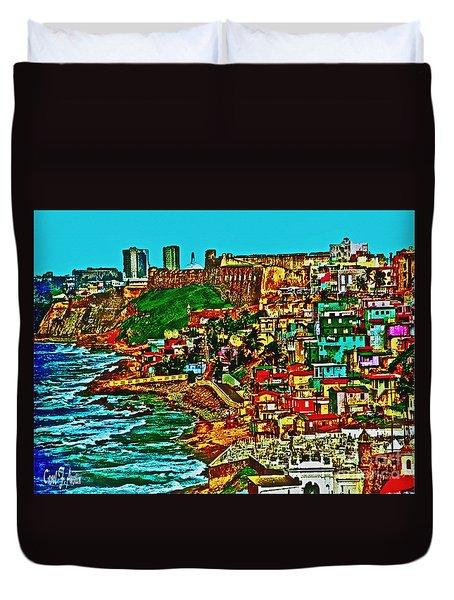 Old San Juan Puerto Rico Walled City Duvet Cover by Carol F Austin