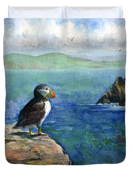 Puffin At Skellig Island Ireland Duvet Cover