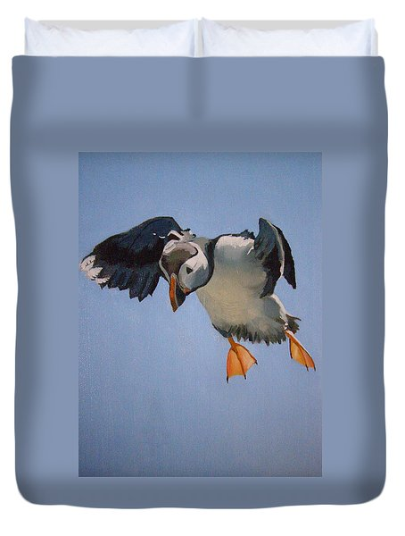 Puffin Landing Duvet Cover by Eric Burgess-Ray