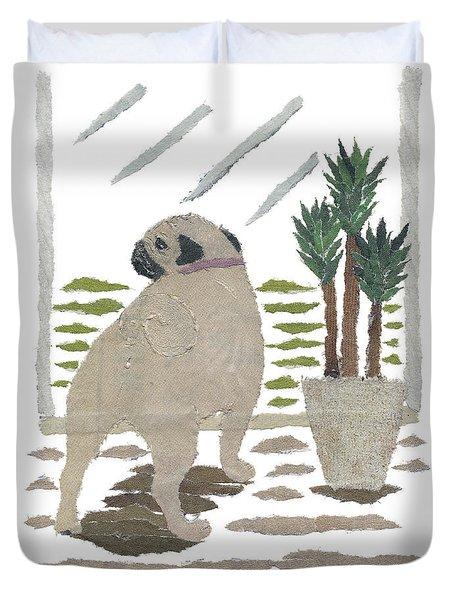 Pug Art Hand-torn Newspaper Collage Art Duvet Cover by Keiko Suzuki Bless Hue