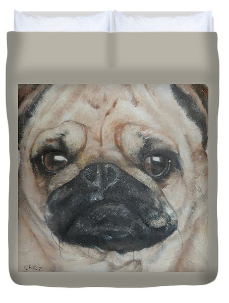 Duvet Cover featuring the painting PuG by Cherise Foster