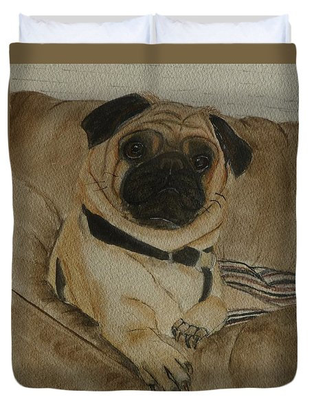 Pug Dog All Ready To Cuddle Duvet Cover