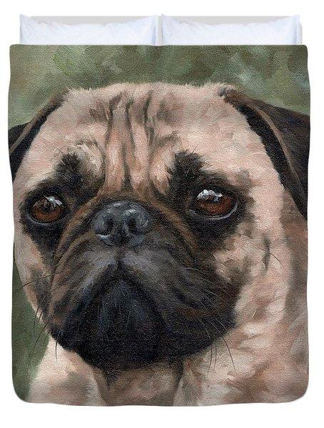 Pug Portrait Painting Duvet Cover