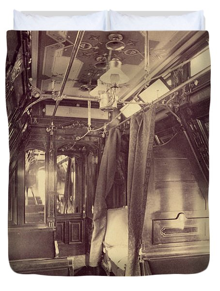 Pullman Palace Sleeping Car 1870 Duvet Cover by Getty Research Institute