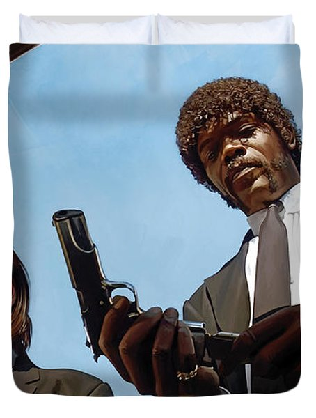 Duvet Cover featuring the painting Pulp Fiction Artwork 1 by Sheraz A