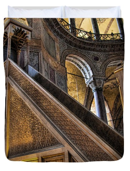 Pulpit In The Aya Sofia Museum In Istanbul  Duvet Cover