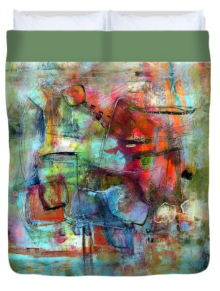 Duvet Cover featuring the painting Pulse by Katie Black