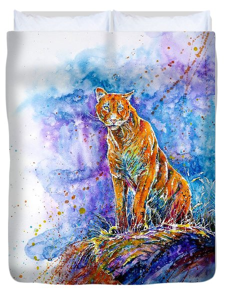 Puma. Listening To The Sounds Of The Mountains.  Duvet Cover by Zaira Dzhaubaeva