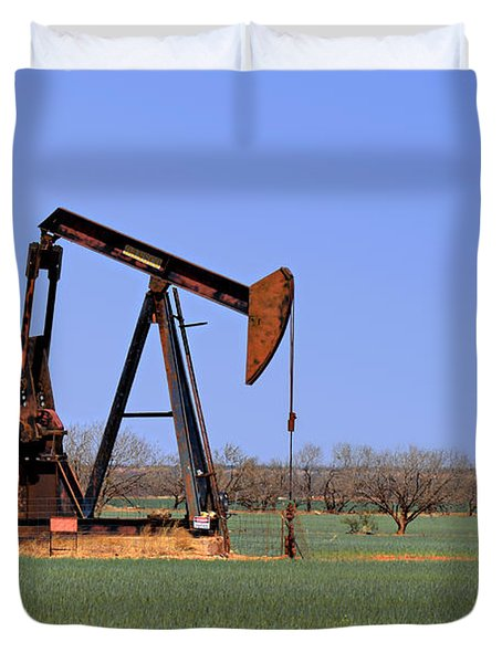 Pump Jack A Texas Icon Duvet Cover by Christine Till