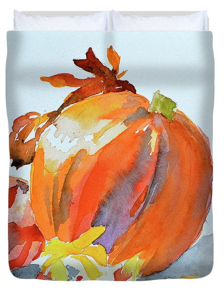 Duvet Cover featuring the painting Pumpkin And Pomegranate by Beverley Harper Tinsley