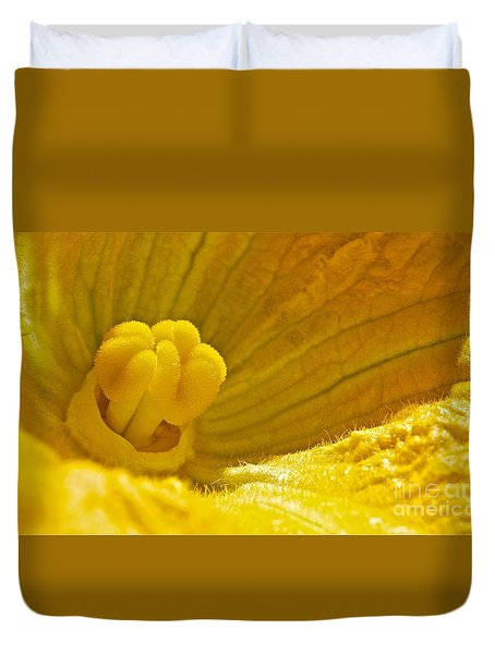 Duvet Cover featuring the photograph Pumpkin Blossom by Linda Bianic